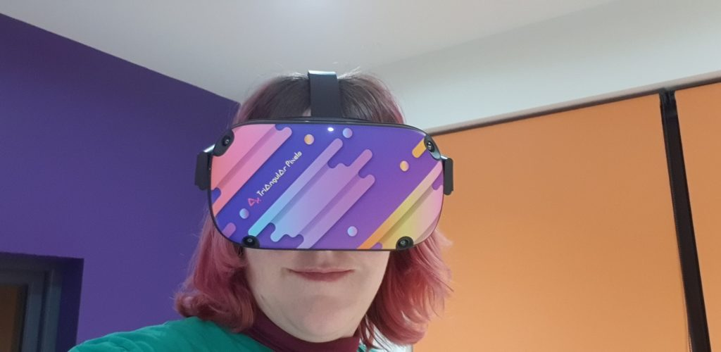 Me wearing a colourful HMD